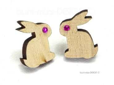 Hase Osterhase Ohrstecker bunny strass pink silber schwarz, Holz Ohrstecker natur AUSWAHL, by BuntMixxDesign