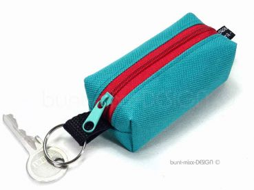 Schlüsselanhänger Minitasche, türkisgrün rot, Kopfhörer Hülle Etui USB-Stick Kleingeld, coin purse box bag, genäht by BuntMixxDesign