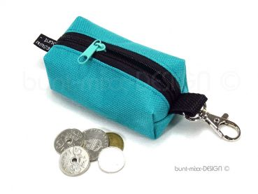 Schlüsselanhänger Minitasche, türkisgrün petrol meergrün, Kopfhörer Hülle Etui USB-Stick Kleingeld, coin purse box bag, genäht by BuntMixxDesign