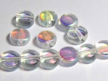10 St. Glasperlen BUTTONS clear-AB 8mm GLITZER - S515