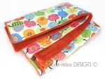 Kuscheldecke Babydecke, buntes Apfel Muster, Wellness Fleece orange, kuschelig, 90 x 70 cm, made by BuntMixxDESIGN